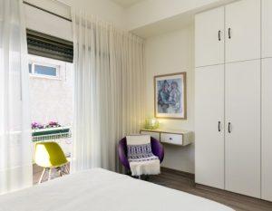 עיצוב חדר שינה ומרפסת פרויקט הדירה