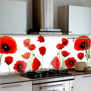 חיפוי קירות פרחים אדומים